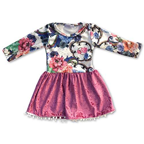 Sol Baby Crushed Velvet Pom Pom Trim Dress-4/5-Pink ()