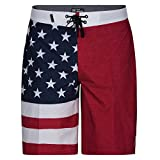 Hurley Apparel Men's Phantom Cheers USA Flag 20' Boardshort Swimwear, Gym Red A, 33'