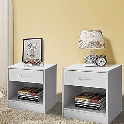 JAXPETY Set of 2 Home End Table/Core Nightstand Storage Shelf with One Drawer Two Layer Cabinet White