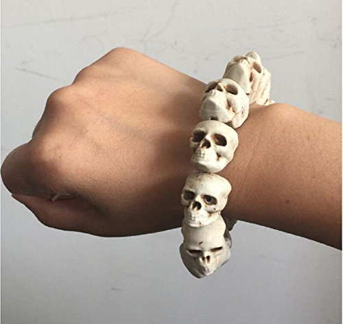LB-Skull Bracelet 100% Plastic Original Bone Color Halloween Props Party Accessories (Game T Shirt Halo Video Boys)