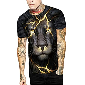 - 51Io2lNSm4L - IYOWEL Unisex Casual 3D Pattern Printed Short Sleeve T-Shirts Top Tees
