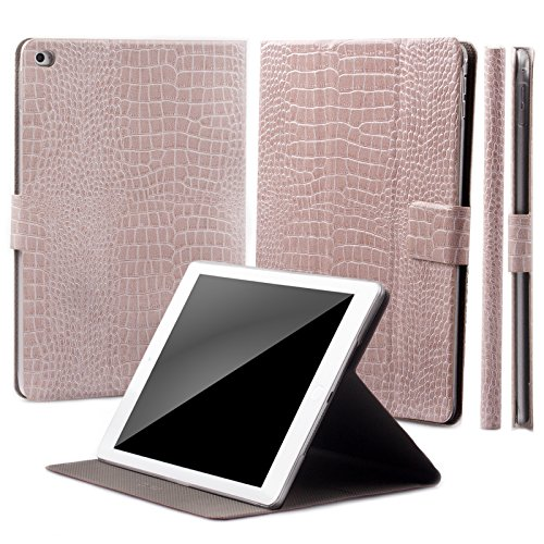 - iCues | Compatible with Apple iPad Air 2 Case | 360° Rotating Stand | Crocodile Caiman Champagne | Manzano Cover | Other Leather - and Color Variations Available | Smart Wallet Flip Thin Ultra Slim