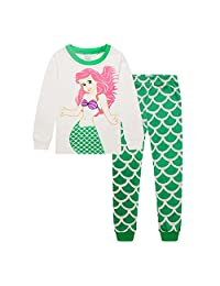 Hooyi Baby Girl Sleepwear Cotton Long Sleeve Mermaid Pajamas Set