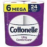 Cottonelle Ultra ComfortCare Toilet Paper Soft Bath Tissue (6 Mega Rolls = 24 Regular Rolls), 2-ply bathroom tissue