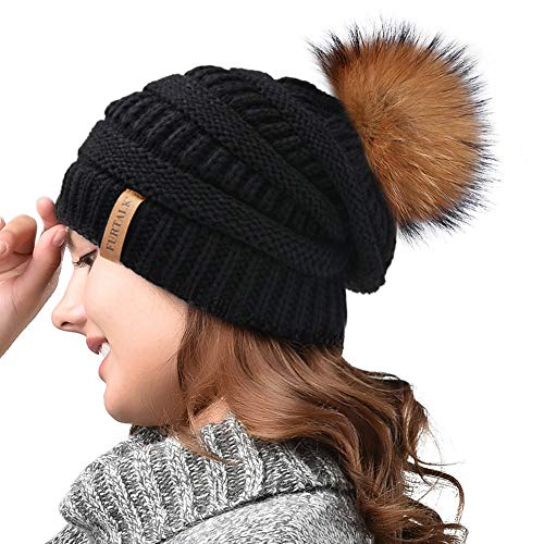 Winter Real Fur Pom Beanie Hat Warm Oversized Chunky Cable Knit Slouch Beanie Hats for ()