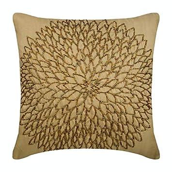 Amazon.com: Lujo Oro decorativos Pillow Cover, Beaded ...