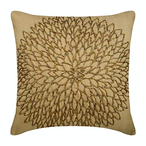 The HomeCentric Luxury Gold Accent Pillows, Beaded Medallion Flower Pillows Cover, 16