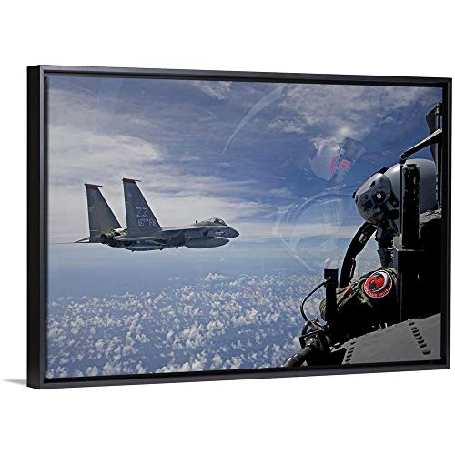 an F-15 Eagle Pilot Flies in Formation with his Wingman Black Floating Frame Canvas Art, 38