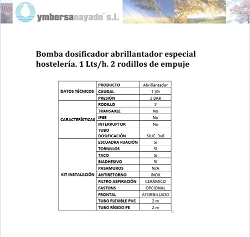 Bomba dosificador abrillantador especial hostelería. 1 Lts/h. 2 ...