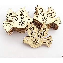 for Parrot - 50pcs Natural Wood Chip Ornaments Bird Carve Decor Scrapbooking DIY Crafts
