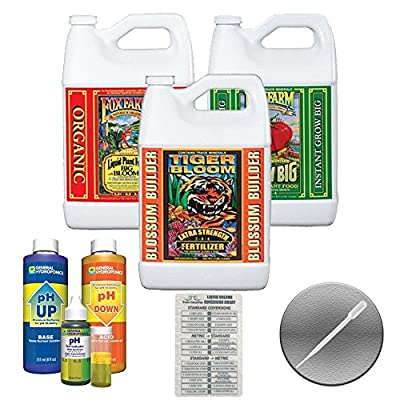 Foxfarm Soil Trio Gallons (big Bloom, Tiger Bloom, Grow Big) & General Hydroponics Ph Control Test Kit Bundle + Twin Canaries Chart & Pipette