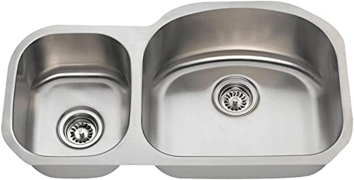 501R 16-Gauge Undermount Offset Double Bowl Stainless Steel Kitchen Sink