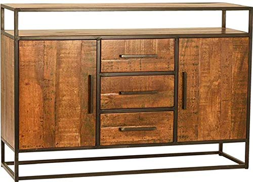 Sideboard Dovetail Hooper Stained Natural Lacquered Mango Wood Iron Fram