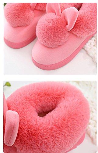 Slippers Coniglio Pattini A Morbido Uomo Casa Cartone Peluche Spessore Rosso Caldo Inverno Inferiore Minetom Unisex Pantofole Donna Scarpe Antiscivolo T7RW87a