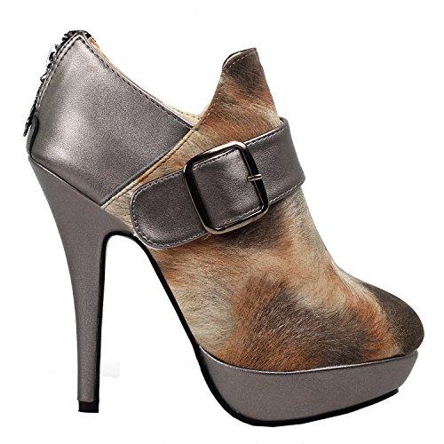 Brown Animal Pattern (Show Story Elegant Brown Bronze Animal Fur Pattern Platform High Heel Stiletto Ankle Bootie Pump Shoe,LF30305BO40,9US,Brown)