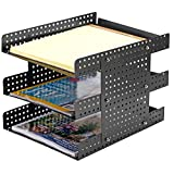 3 Tier Metal Document Tray, Desktop File Holder with Adjustable Height Design, Black
