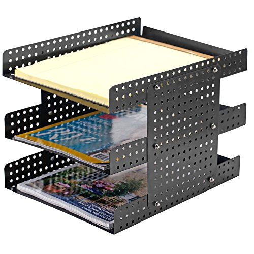 - 3 Tier Metal Document Tray, Desktop File Holder with Adjustable Height Design, Black