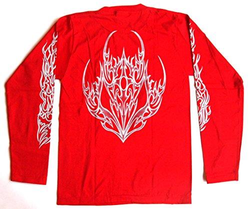 Langarmshirt TATTOO Größe L Baumwolle rot beidseitig und beide Ärmel Siebdruck