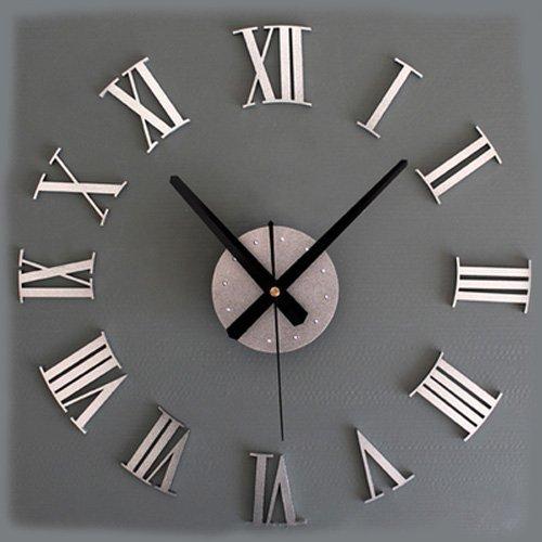 Adsled Metallic-feeling 3d DIY Funny Wall Clock Modern Design Decorative Fashion Roman Numeral Wall Clocks Home Decoration (Silver - Silver Roman Clock Numeral