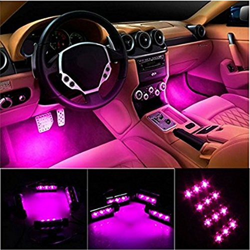 Car Interior Lights, EJ's SUPER CAR 4pcs 36 LED DC 12V Waterproof Atmosphere Neon Lights Strip for Car-Car Auto Floor Lights,Glow Neon Light Strips for All Vehicles (Pink) (Decorative Car Seat Covers)