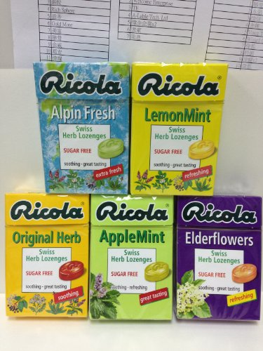 (Ricola Swiss Herbal Sugar-free Mint 5 differents taste Candy x 5 packs)