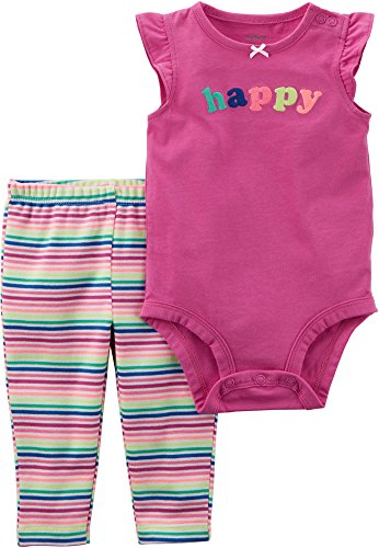 Carter's Baby Girls 2 pc Flutter Sleeve Bodysuit Happy + Matching Striped Pants (9M) ()
