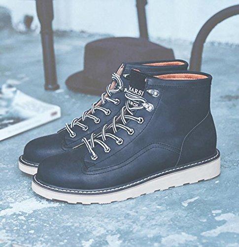 W&XYWinter Plush Snow Boots da uomo tendenza moda alta per aiutare gli stivali del deserto all'aperto black
