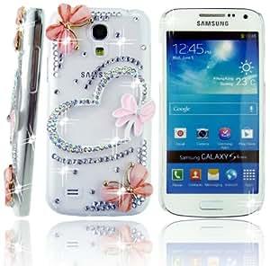 FiMeney - Carcasa transparente para Samsung Galaxy S4 Mini i9190, i9192 e i9195 (incluye lápiz capacitivo y tapas para el polvo de mariposa y flor), diseño de corazón y mariposas con cristales engarzados