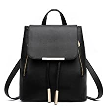 Lopkey Big Girls New Student Faux Leather Backpack Black