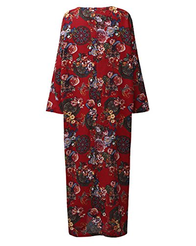 StyleDome Mujer Vestido Maxi Floral Algodón Elegante Étnico Tribal Fiesta Mangas Largas Cóctel Noche Rojo