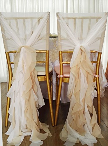 (5pcs Chiffon Chair wrap Hood Cover Curly Willow Sashes for Wedding Decoration)