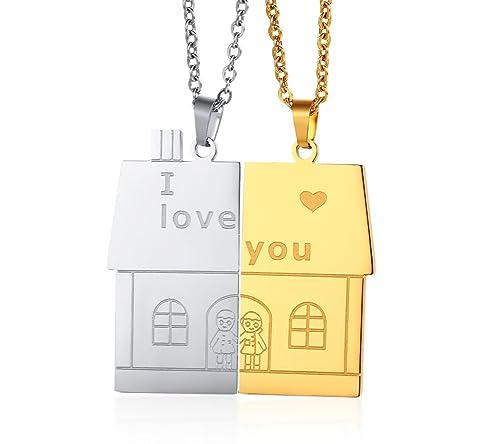 Aruie Schmuck Halskette Anhänger Haus Zimmer I Love You Alphabet Vergoldet  Kette Edelstahl Drehmoment Liebe Valentinstag