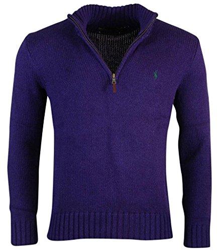 Polo Ralph Lauren Men's Half Zip Cotton Sweater, Purple, L - Tab Front Sweater