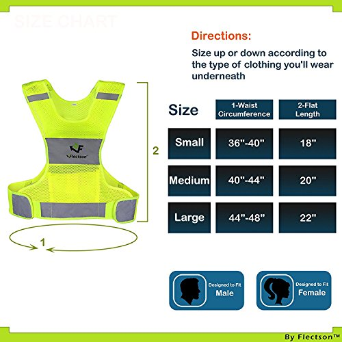 Reflective Vest for Running or Cycling (Women and Men, with Pocket, Gear for Jogging, Biking, Motorcycle, Walking) (Extra Large) by Flectson (Image #1)