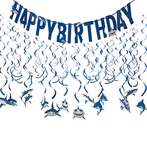 Shark Party Decorations - Shark Decor, Shark Sign, Shark Birthday Party Supplies, Ocean Party Supplies, Shark Banner, Shark Birthday Decor -