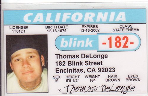 Fake Tom Novelty d Thomas Drivers Again Blink-182 Galleon Identification What's My - For Fans Age License I Delonge