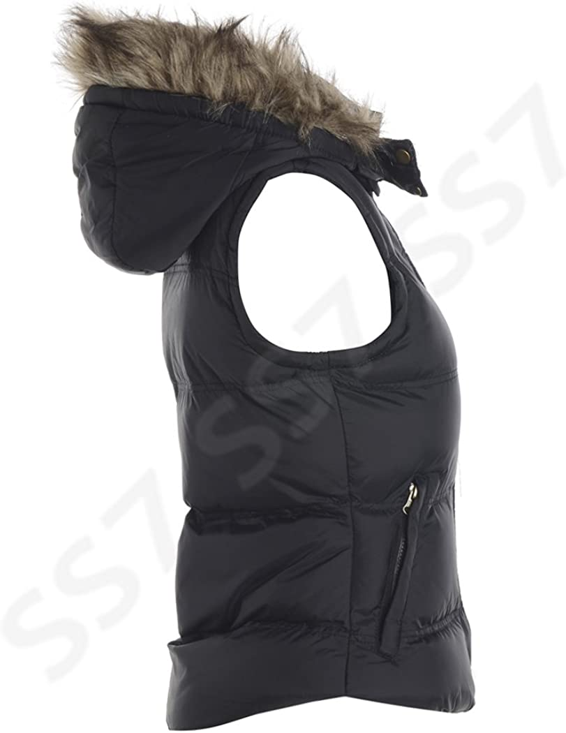 Black Size 8-16 SS7 New Womens Bodywarmer Hooded Gilet UK - 16, Black