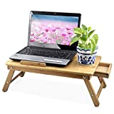 Popamazing Portable Bamboo Laptop Desk Notebook Tray Table Bed Table , Flower Style design, play games on bed