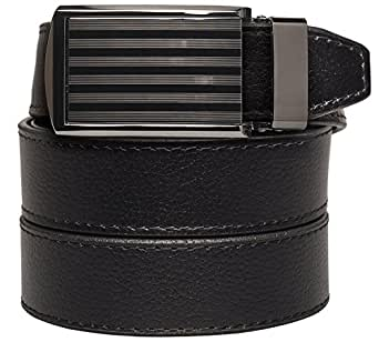 """SlideBelts Men's Animal-Friendly Leather Belt without Holes - Bar Striped Buckle / Black Leather (Trim-to-fit: Up to 48"""" Waist)"""