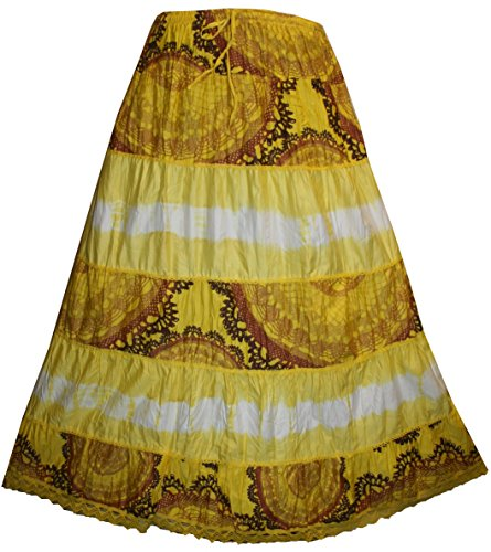 Agan Traders 24 SK Soft Crinkle Tie Dye Lace Skirt (S/M/L, Yellow)