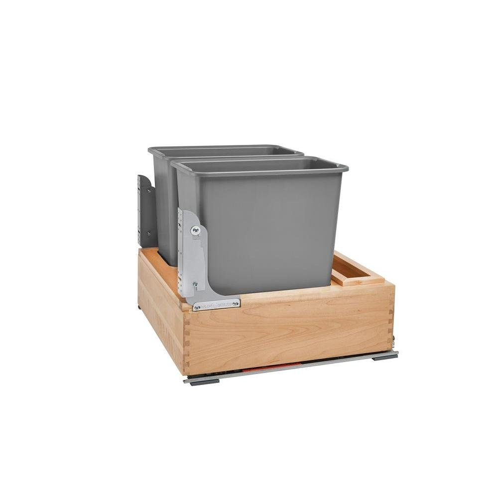 Rev-A-Shelf Double 30 Quart Pullout Waste Container, Natural