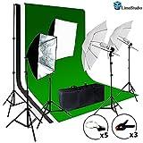 limostudio Foto Video Studio Kit de luz–Incluye Chromakey visualización (Verde, Negro y Blanco), (3) de fondo para estudio muselina fondos, difusor de paraguas, Softbox, iluminación reflector, agg1388