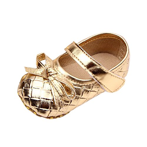 Infant Baby Girls Bow Plaid PU Leather Soft Sole Anti-Slip Mary Jane Crib Shoes Gold 12-18M