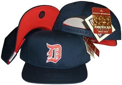 Detroit Tigers Navy Snapback Adjustable Plastic Snap Back Hat / Cap