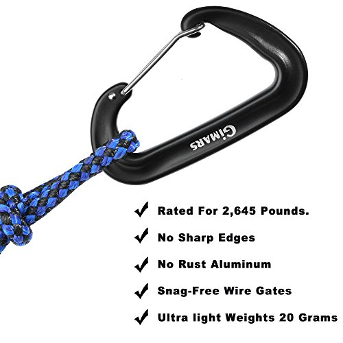 Gimars Heavy Duty Rated 2697 LBS Carabiners 4 Pack for Hammock, Camping sunshade / rain cover, Lashing gear onto packs, Campion, Camping, Hiking and More Heavy Hanging