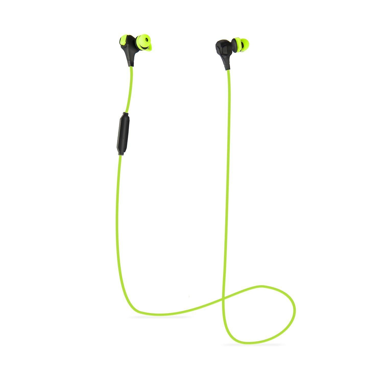 Flymemo Hammer Bluetooth 4.0 Sports Active Wireless Earbuds Headset Hands-Free Talking Ergonomic Human Engineering Secure Fit Desig Premium Enhanced Sound Driver CSR Technology, Green