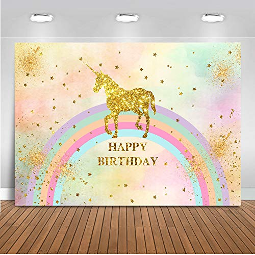 Mocsicka Rainbow Unicorn Birthday Backdrop 7x5ft Gold Glitter Birthday Party Banner for Boy or Girl Photography Background Twinkle Star Photo Booth -