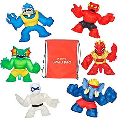 Heroes of Goo JIT Zu Extreme Ultimate set of 6 Action Figures featuring Blazagon, Redback, Pantaro, Thrash, Gigatusk, and Reptaur and 2 Swag Bags filled with Extra Toys) for boys girls and playtime!: Toys & Games