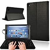AmaBe for Amazon Fire 7 Tablet Alexa Case (9th 7th 5th Gen 2019 2017 2015 Release) - PU Leather Smart Cover Case with Wired Keyboard (Black)