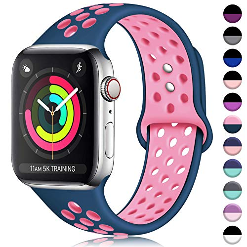 (ilopee Sweat-Proof Sport Band Compatible with Apple Watch 38mm 40mm Series 4 3 2 1, Sky Blue/Rose Pink, S/M)
